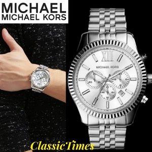 **NEW** Michael Kors Men's Lexington Silver-Tone W